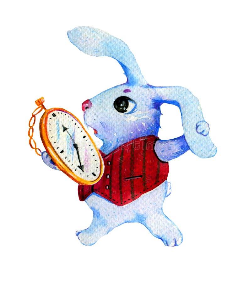 Vit kaninspring med klockor Dragen vattenfärgillustration för tecknad film hand royaltyfri illustrationer