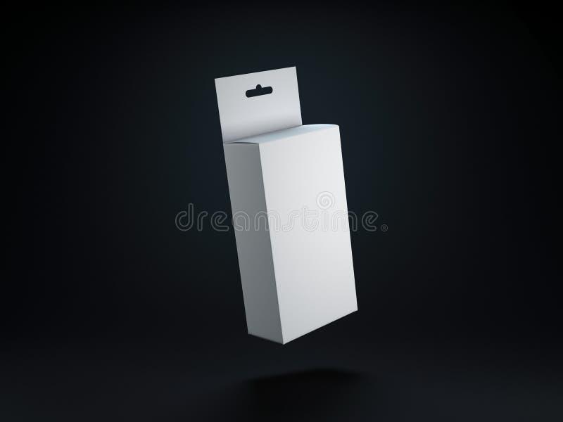 Vit kartong som förpackar med Hang Tab Mockup för din design på svart bakgrund royaltyfri illustrationer