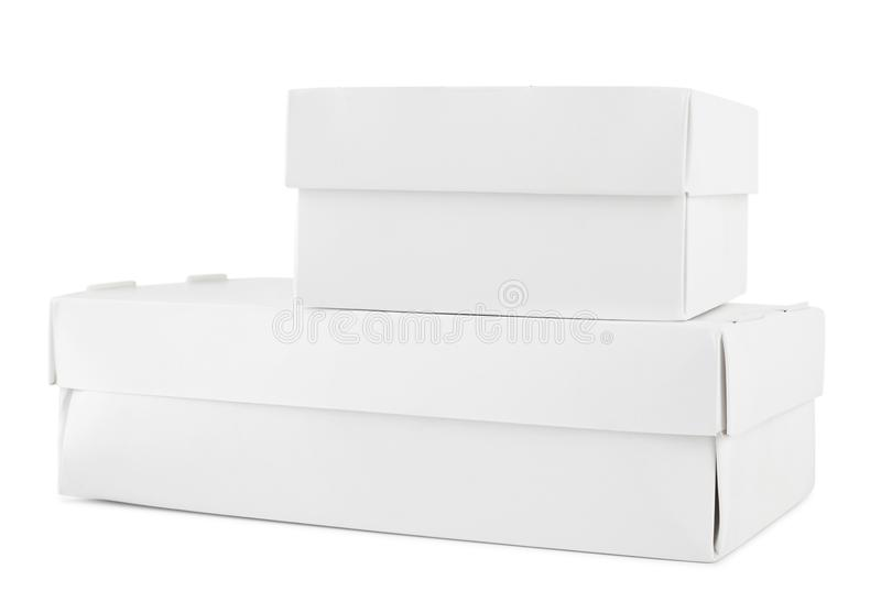 Vit kartong som förpackar utan etikett, ask av eco-friendl royaltyfria bilder