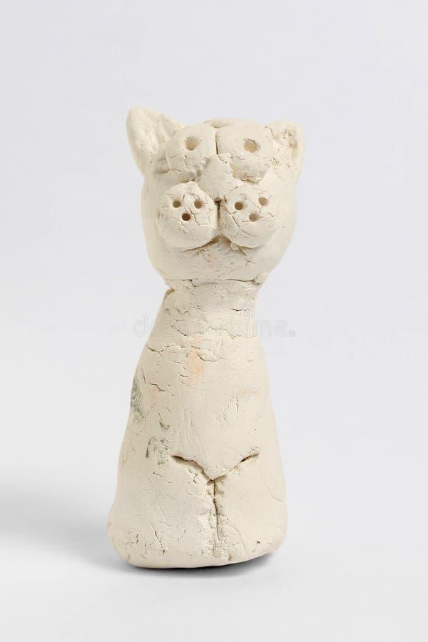 Vit katt från mjöl arkivfoton