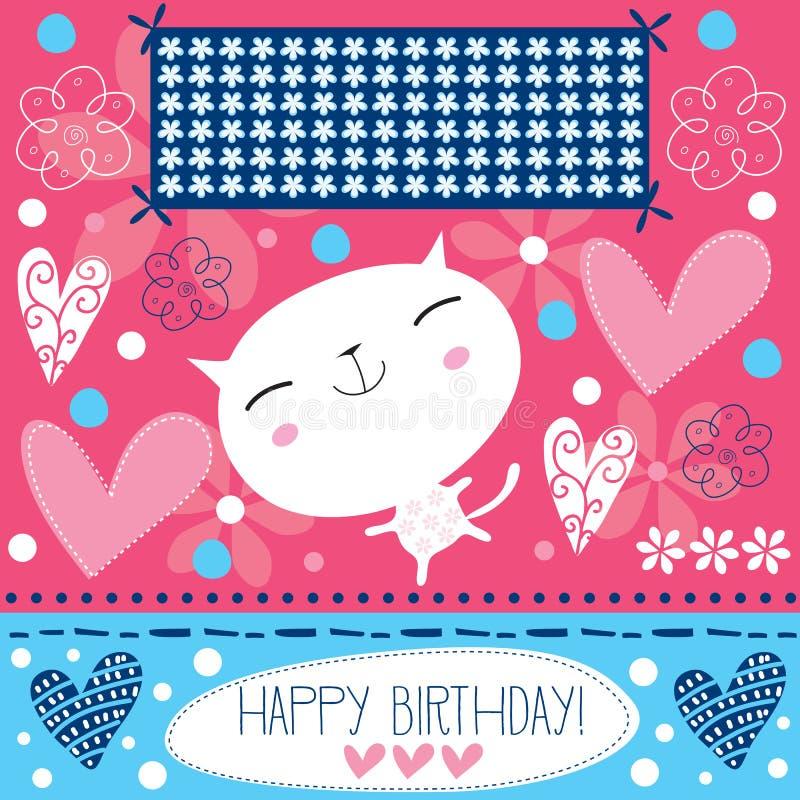Vit kattvektor för lycklig födelsedag vektor illustrationer