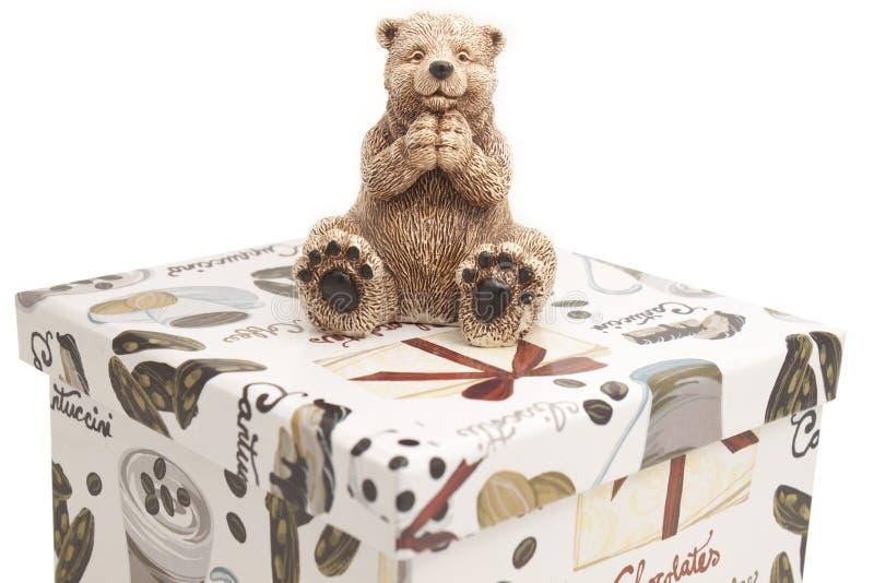 Vit keramisk leksakbjörn royaltyfria bilder