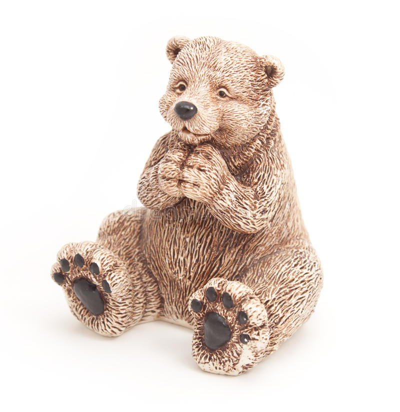 Vit keramisk leksakbjörn arkivfoton
