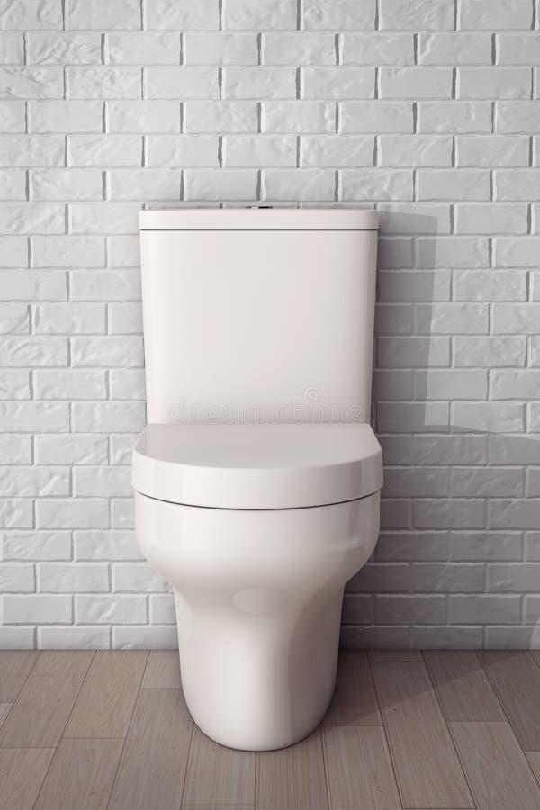 Vit keramisk toalettbunke framförande 3d stock illustrationer