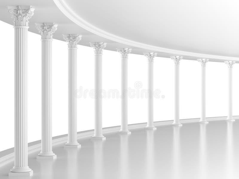Vit klassisk inre med kolonner royaltyfri illustrationer