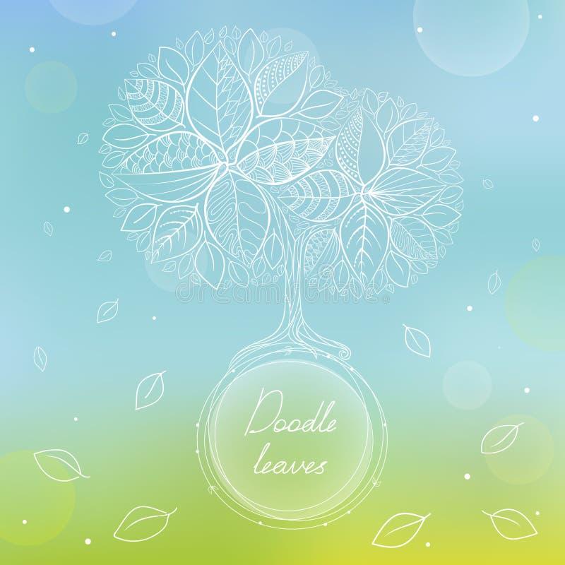 Vit klottercirkelram med handteckningsträdet och sidor stock illustrationer