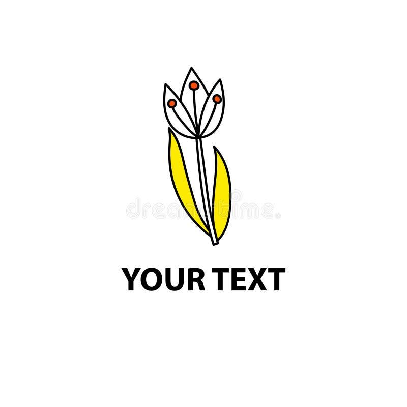 Vit klottertulpan med gula blad stock illustrationer