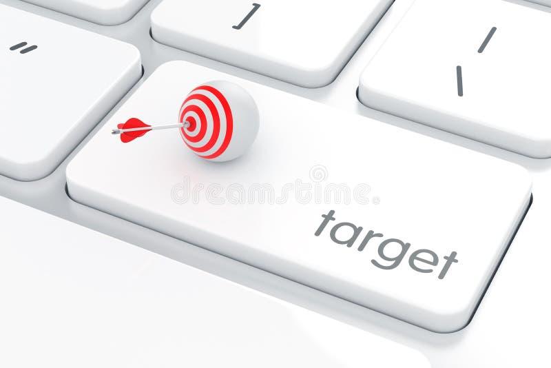 Vit knapp för datortangentbord med den målmålsfären och pilen stock illustrationer