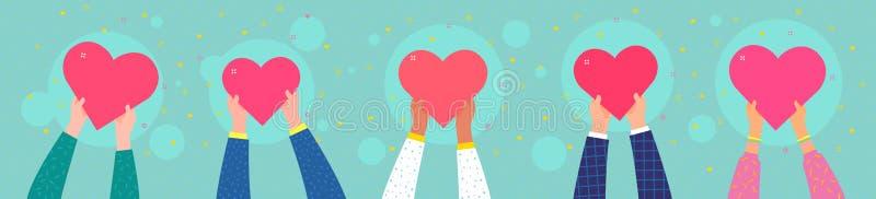 Vit knapp på blå bakgrund i plan designstil Flera personer rymmer hjärtan vektor illustrationer