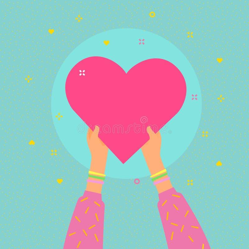 Vit knapp på blå bakgrund i plan designstil Händer rymmer stort hjärtasymbol royaltyfri illustrationer