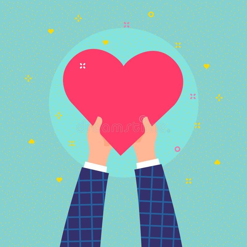 Vit knapp på blå bakgrund i plan designstil Händer rymmer stort hjärtasymbol vektor illustrationer