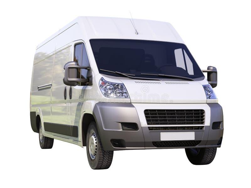 Vit kommersiell leveransskåpbil royaltyfria foton