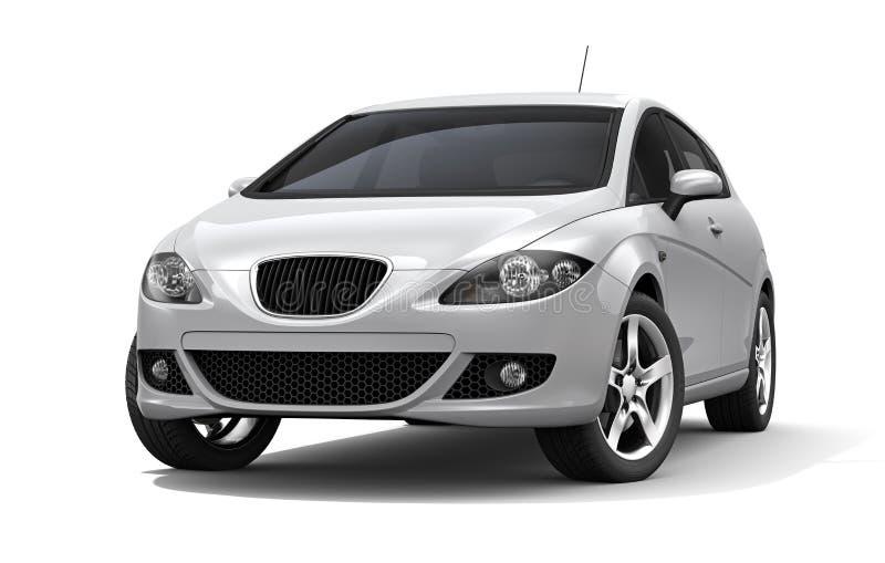 Vit kompakt bil royaltyfri illustrationer