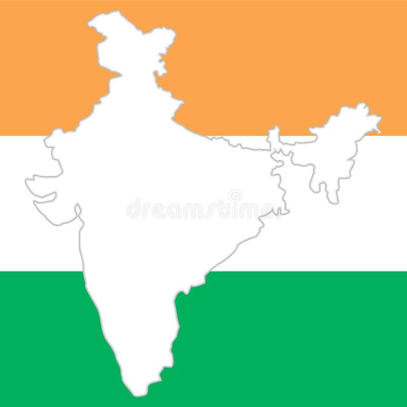 Vit kontur av den Indien översikten på nationell indisk färgbakgrund vektor illustrationer