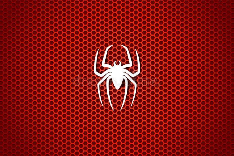 Vit kontur av en spindel på en röd bakgrund för cell också vektor för coreldrawillustration stock illustrationer