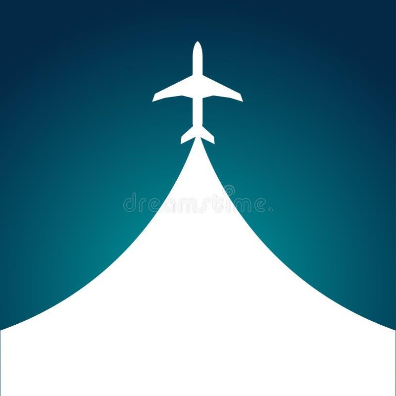 Vit kontur av flygplanet som isoleras på blått plant begrepp för illustration för vektor för stil för modern design för symbol royaltyfri illustrationer
