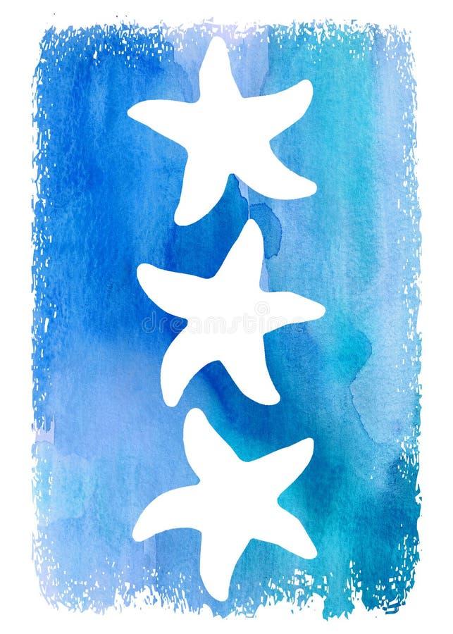 Vit kontursjöstjärna på blå vattenfärgbakgrund Art Design Poster royaltyfri fotografi