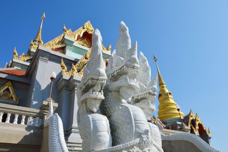 Vit konung av Naga på Buddhakyrka royaltyfri bild