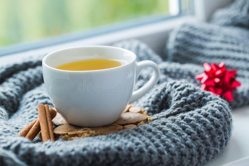 Vit kopp av kamomillte med den gråa halsduken på fönsterbrädan arkivbild