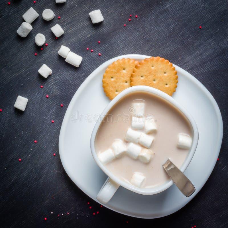 Vit kopp på ett tefat med varm kakao Mörk träbakgrund för morgonfrukost royaltyfri foto