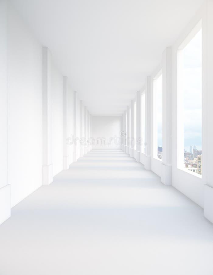 Vit korridor med stadssikt stock illustrationer