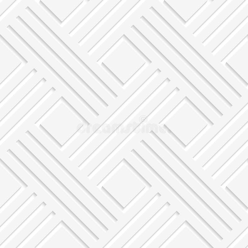 Vit korsade sömlösa linjer och fyrkanter vektor illustrationer