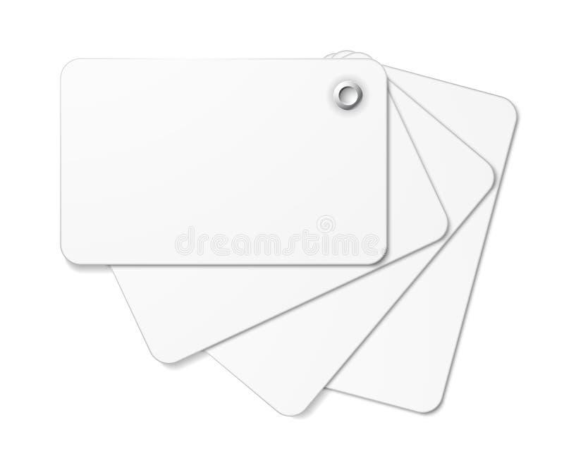 Vit kortpacke som är fäst samman med niten. stock illustrationer