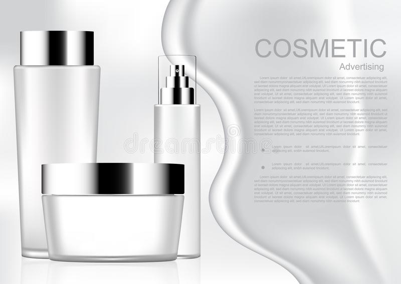 Vit kosmetisk produkt med kräm och vit skönhetsmedel Co för mall stock illustrationer