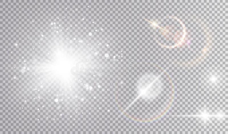 Vit kosmisk uppsättning för ljusa effekter royaltyfri illustrationer