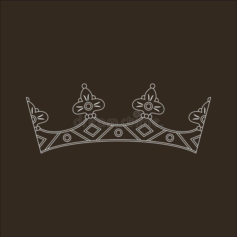 Download Vit Krona På Den Svarta Bakgrunden Stock Illustrationer - Illustration av dekor, inget: 37349060