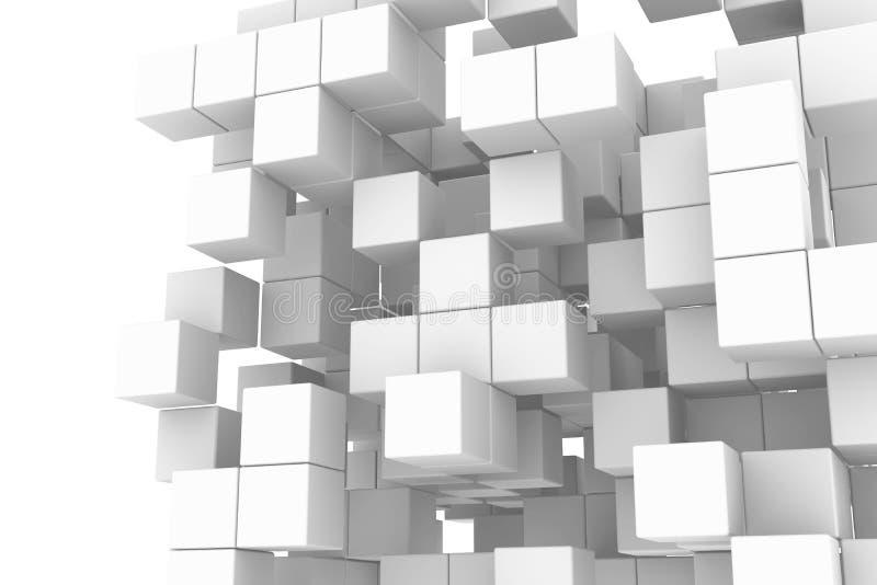 Vit kubstruktur stock illustrationer