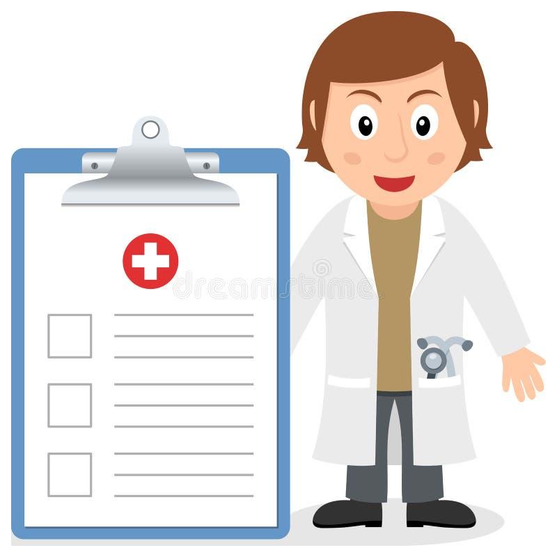 Vit kvinnlig doktor med sjukdomshistorien stock illustrationer