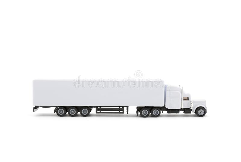 Vit lång lastbilminiatyr med en släp på vit bakgrund royaltyfria bilder