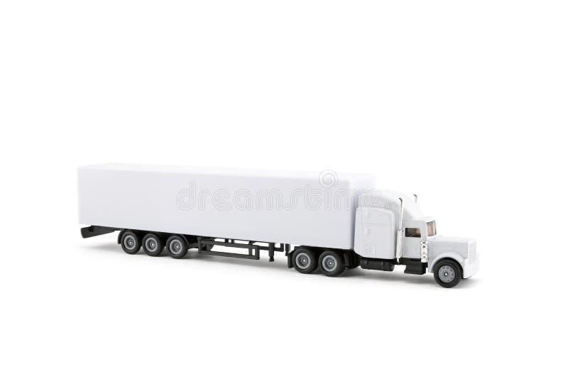 Vit lång lastbilminiatyr med en släp på vit bakgrund arkivfoto