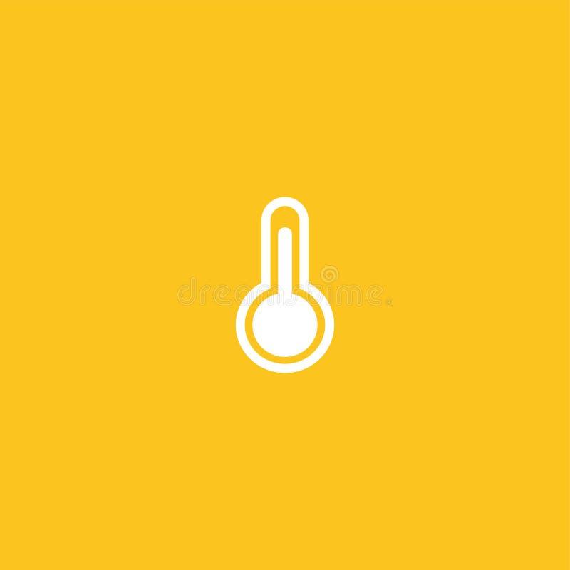 Vit labbflaska, termometersymbol royaltyfri illustrationer