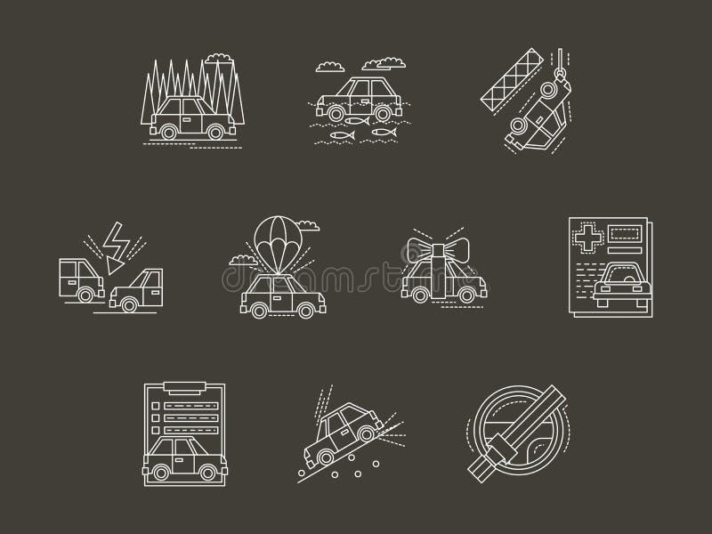 Vit linje uppsättning för symboler för bilförsäkring royaltyfri illustrationer