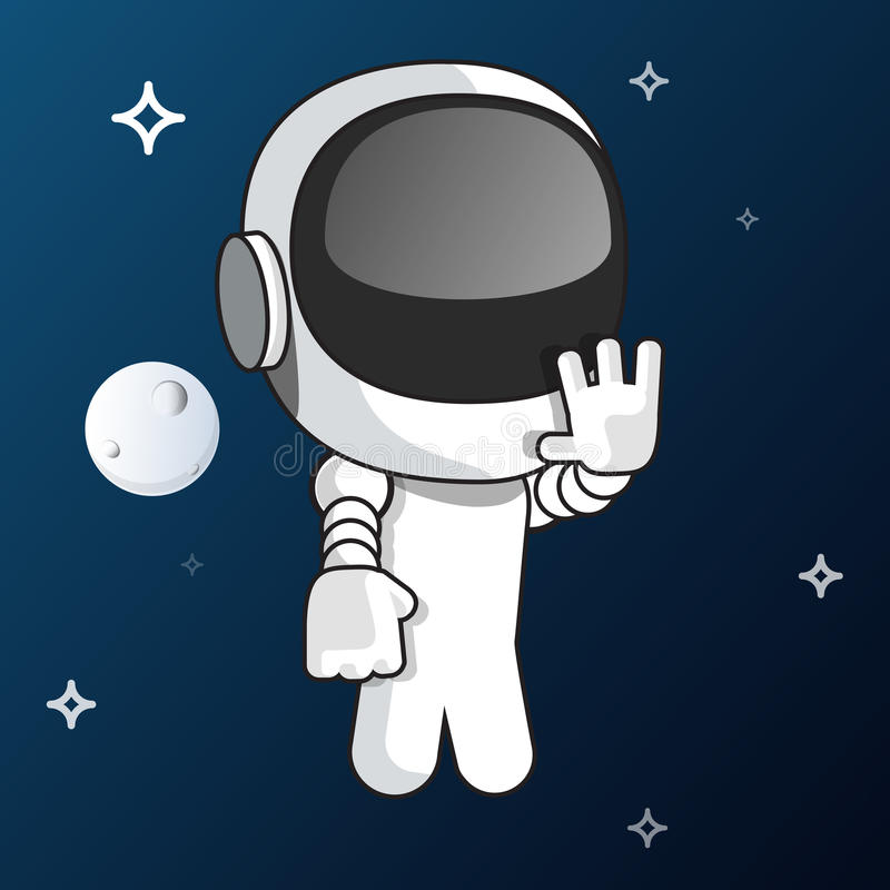 Vit liten astronautillustration för vektor royaltyfri foto