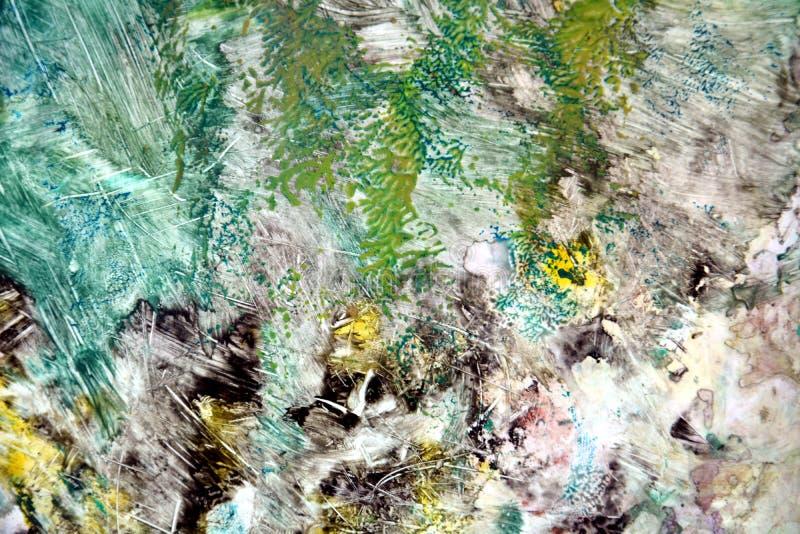 Vit livlig abstrakt bakgrund för färgrik gräsplansvart och att måla vattenfärgbakgrund som målar abstrakta färger royaltyfria foton