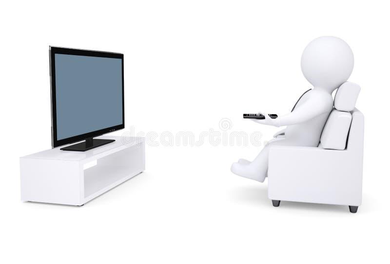 vit mänsklig sitting 3d i en stol och en hållande ögonen på TV stock illustrationer