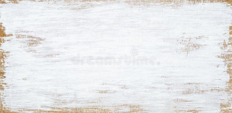 Vit målad bakgrund för grunge för trätextur sömlös rostig, skrapade vit målarfärg på plankor av träväggen royaltyfri bild