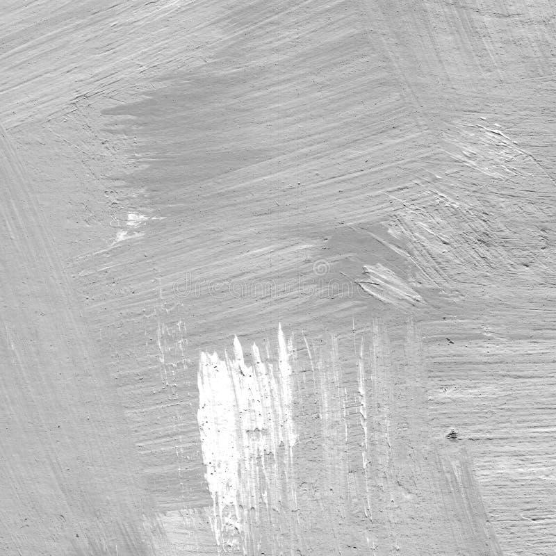 Vit målad texturerad abstrakt bakgrund med borsteslaglängder i grå färg- och svartskuggor stock illustrationer
