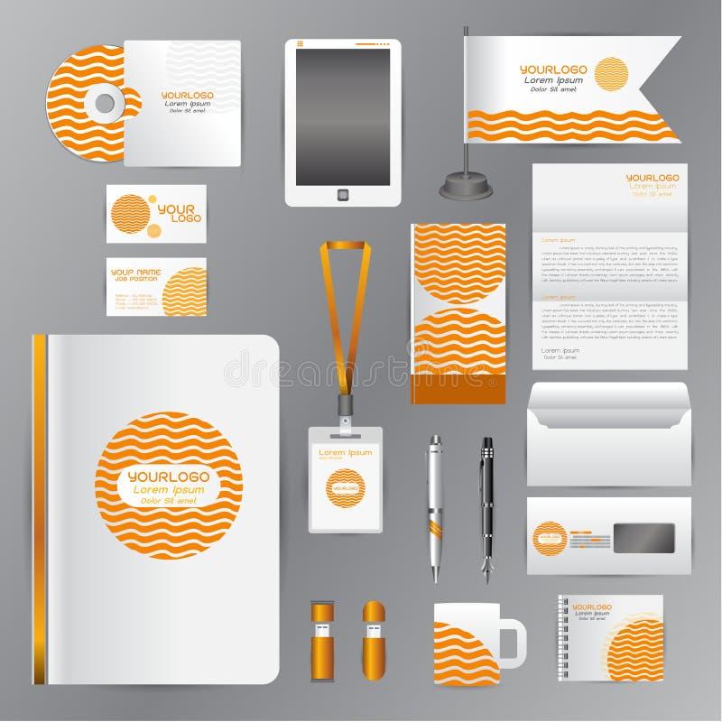 Vit mall för företags identitet med orange origamibeståndsdelar stock illustrationer