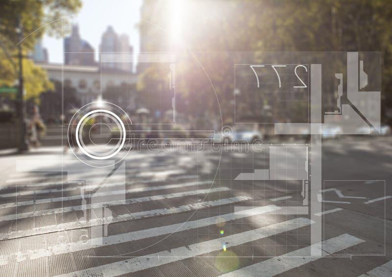 Vit manöverenhet mot den oskarpa gatan med signalljuset vektor illustrationer