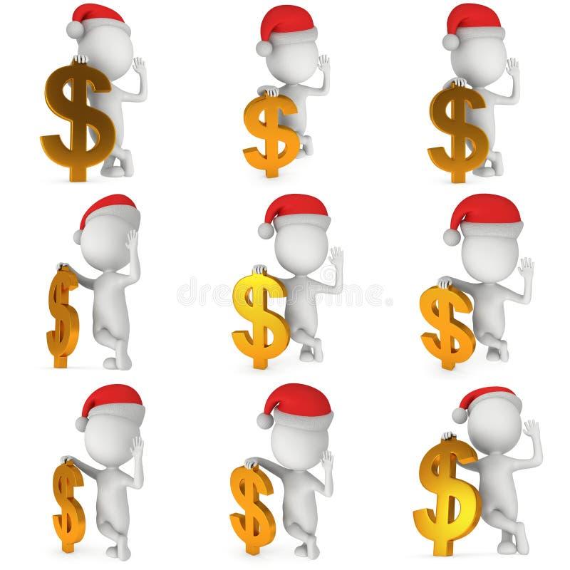 vit man 3d i Santa Claus lockställning nära dollar royaltyfri illustrationer