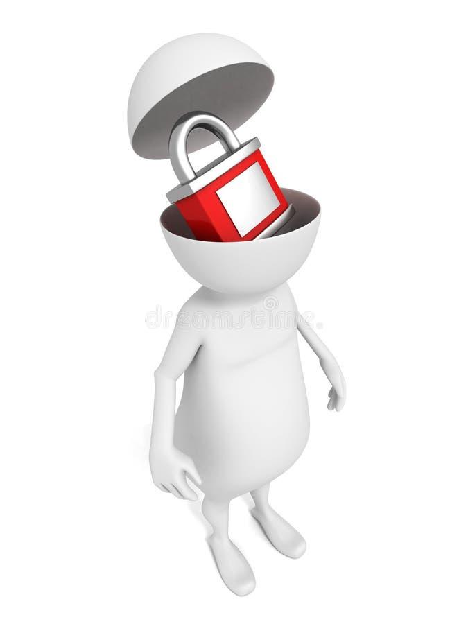 Vit man 3d med den röda hänglåset i öppet huvud royaltyfri illustrationer