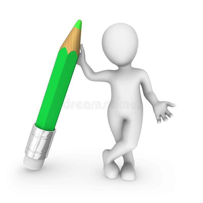 vit man 3d med den stora gröna blyertspennan stock illustrationer