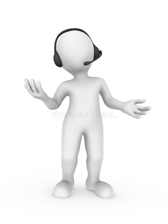 vit man 3d med hörlurar med mikrofon i servicemitt stock illustrationer