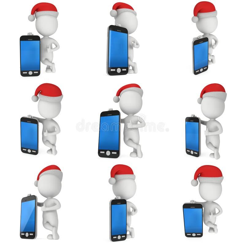 Vit man i Santa Claus lockställning med smartphonen stock illustrationer