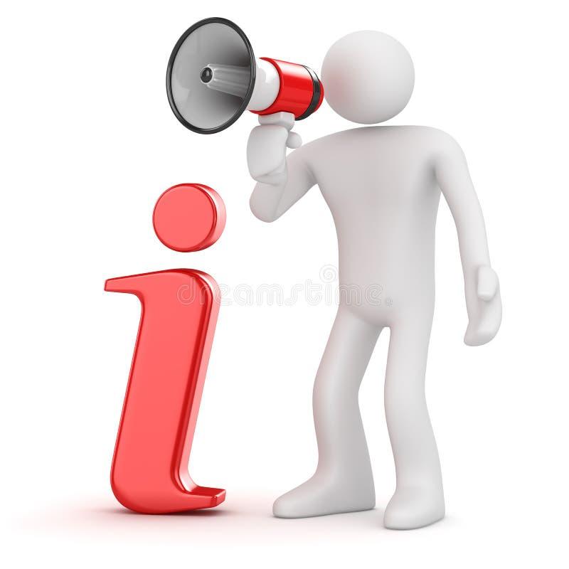 Vit man som ropar till och med megafonen - information royaltyfri illustrationer