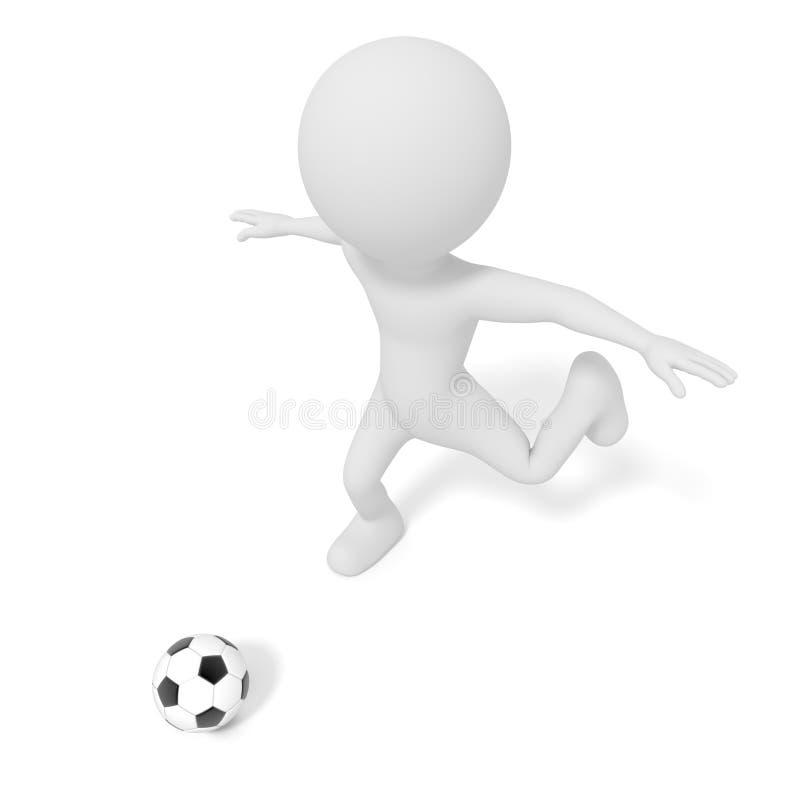 Vit man som sparkar fotbollbollen eller fotboll i konkurrensmatchlek illustration 3d Diagram f?r folkmodelltolkning isolerat royaltyfri illustrationer